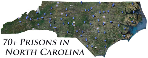 Map of 70+ Prisons in North Carolina